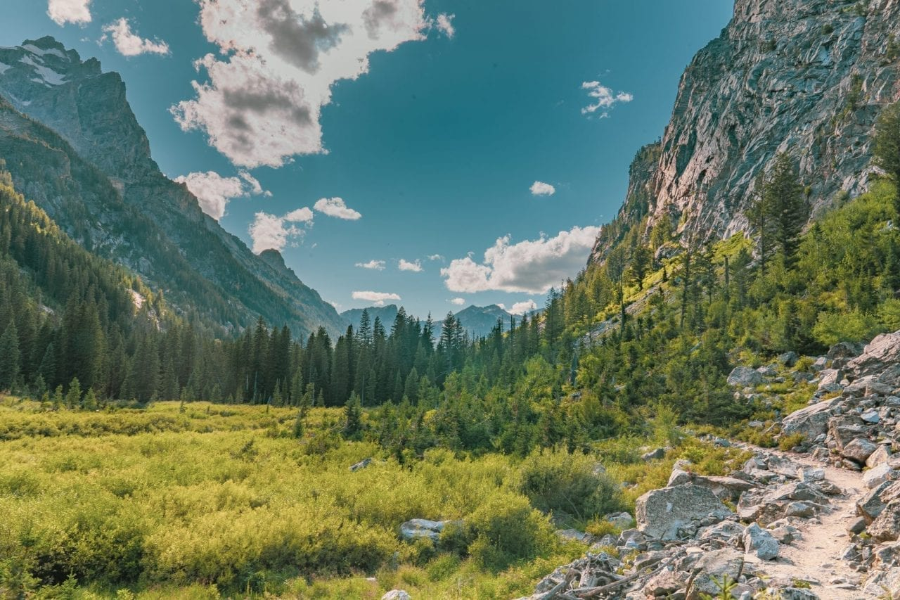 View from Cascade Canyon with mountains on either side