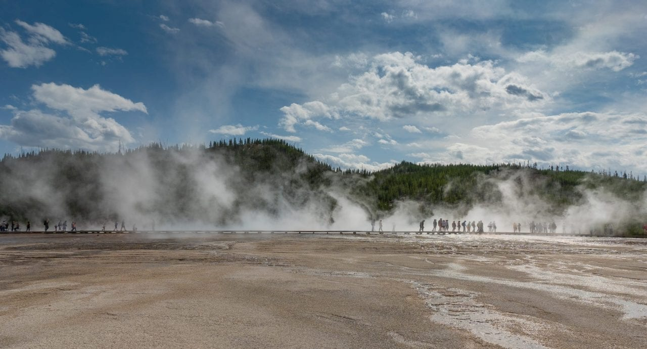 Crowds at Grand Prismatic Spring