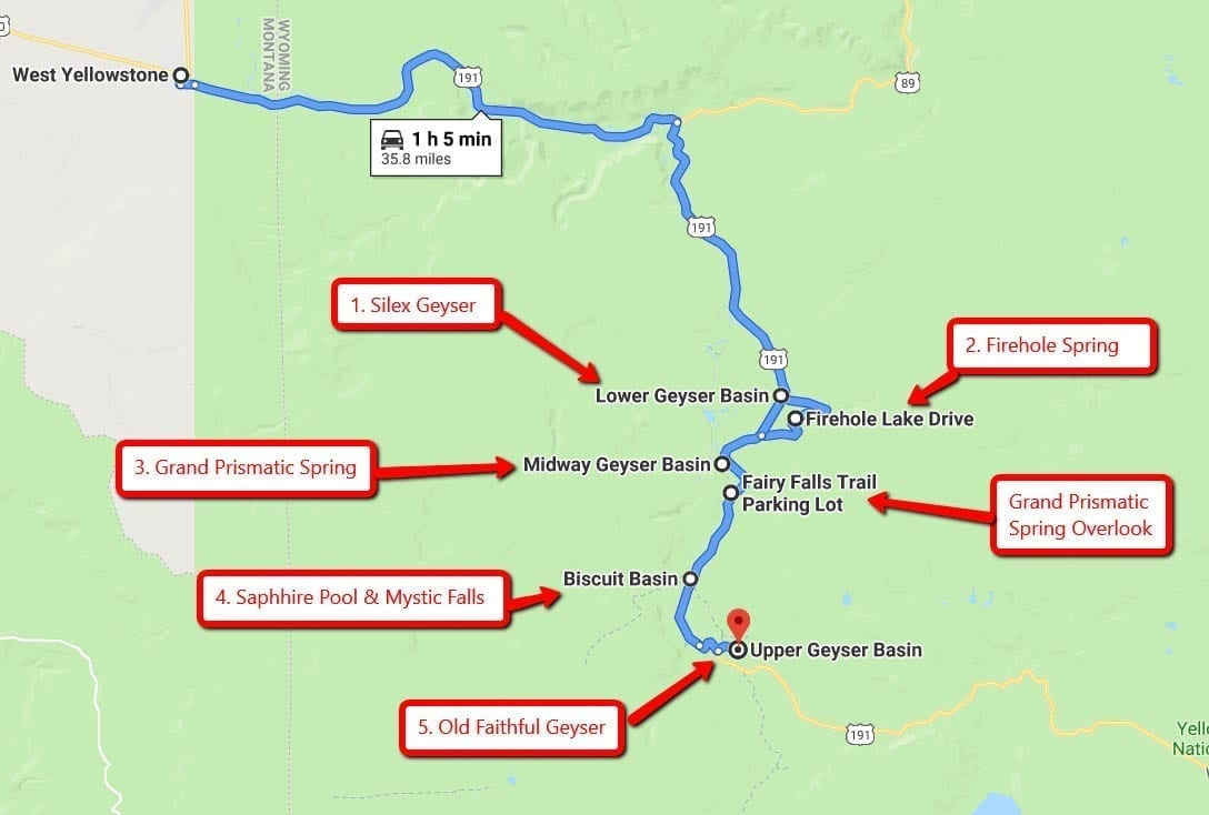 Route to Geyser Basin from West Yellowstone with major viewpoints where you'd want to stop along the way