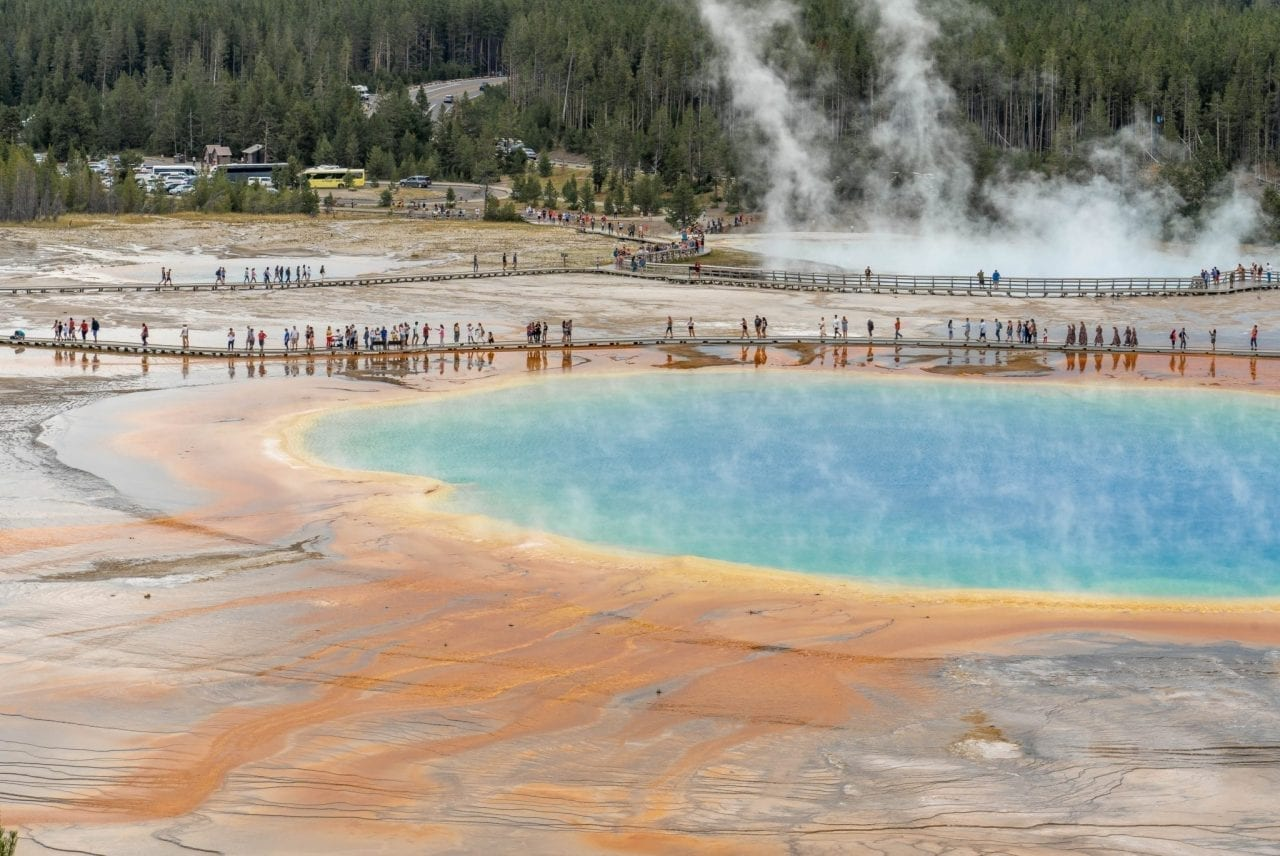 Crowds at Grand Prismatic Spring as viewed from the Fairy Falls Overlook