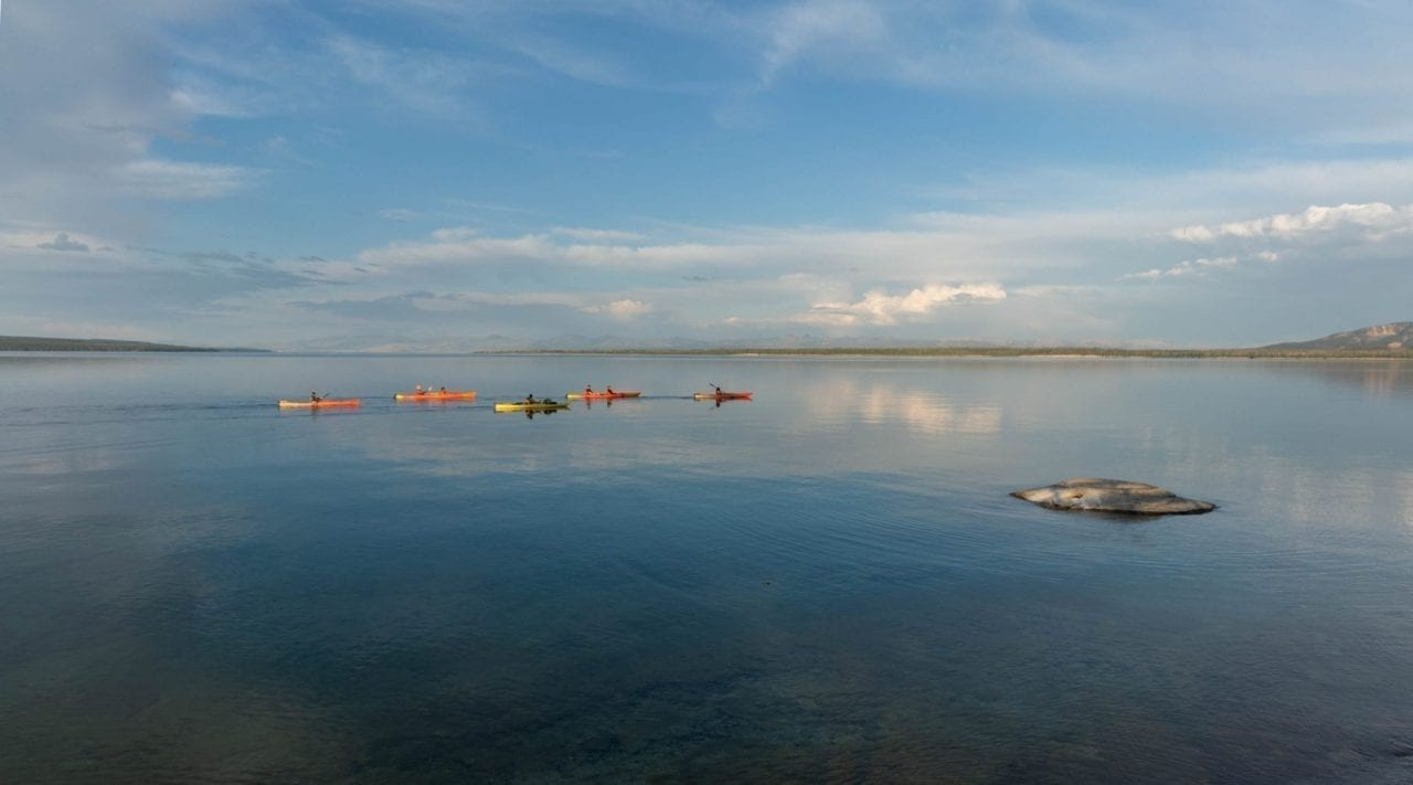 Kayaking in Yellowstone Lake is a popular activity
