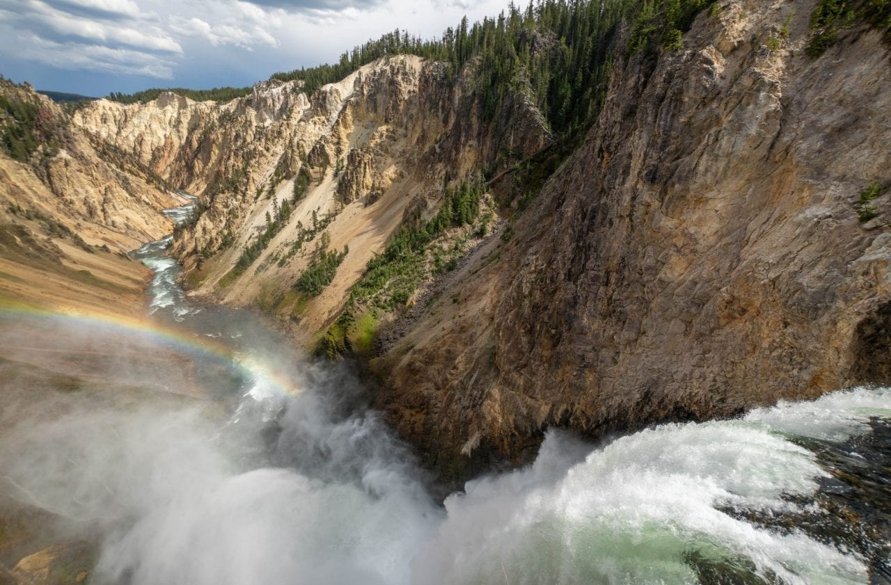 Rainbow formed due to mist from Lower Yellowstone Falls