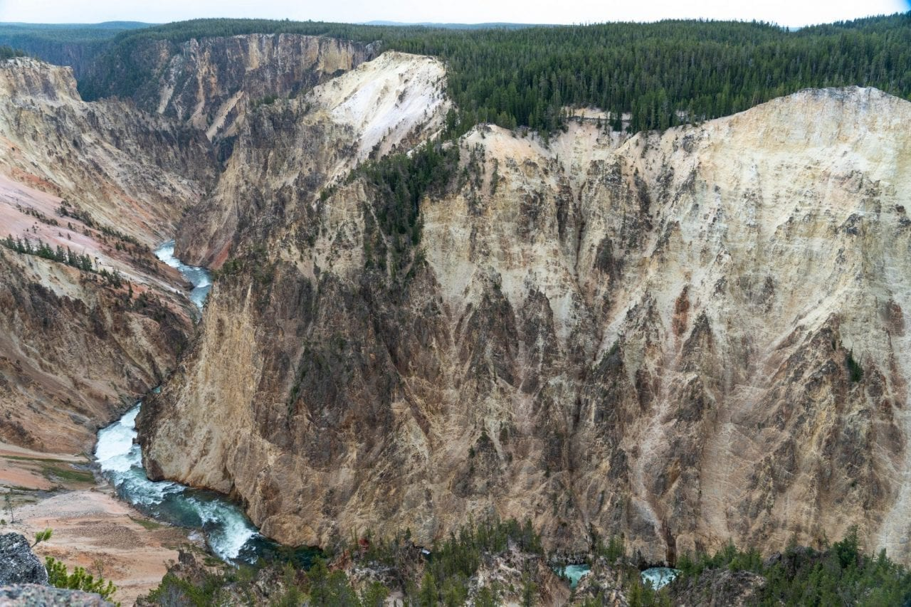 Yellowstone River and the yellow canyon carved by it over millions of years